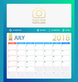 july 2018 calendar or desk vector image