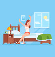 lady wakes up morning lady is sitting on mattress vector image vector image