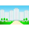 landscape with skyscrapers and street vector image vector image