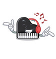 listening music piano mascot cartoon style vector image