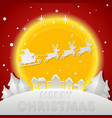 merry christmas santa claus on night sky in city vector image vector image