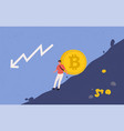 miner trying to hold big bitcoin coin vector image