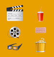 movie theater objects realistic set vector image