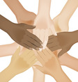 multiracial human hands vector image vector image