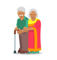 old couple indian man and woman standing together vector image vector image
