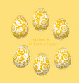 pale yellow easter egg decoration floral vector image vector image
