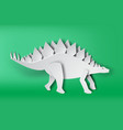 paper art of stegosaurus dinosour on green vector image