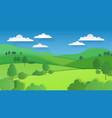 paper cut landscape nature green hills fields vector image
