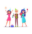 people in festive dresses celebrate birthday party vector image vector image