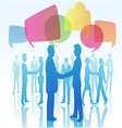 Person shaking hands with speech bubbles vector image vector image