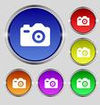 Photo Camera icon sign Round symbol on bright vector image