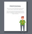 professional businessman poster with smiling man vector image vector image