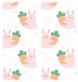 rabbit hugging carrot seamless pattern background vector image vector image