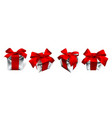 realistic gift box with red bow isolated on white vector image vector image