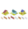 rural houses and fences isolated outdoor design vector image vector image