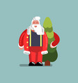 santa standing with new year tree vector image vector image