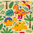 seamless pattern with wild and free dinosaurs vector image vector image