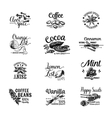 set dessert spices logos labels badges vector image