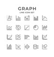 set line icons of graph and diagram vector image vector image