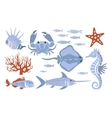 Stylized Underwater Nature Set Of Icons vector image vector image