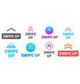 swipe up social media story post button up arrow vector image