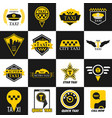 taxi retro car yellow icons vector image