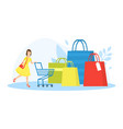tiny young woman with shopping trolley and huge vector image
