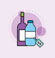 wine bottle and container glass grocery products vector image