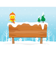 Wooden Signboard On Snowdrift vector image