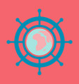 yacht helm wheel image with globe in middle vector image