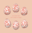 pale rosy easter egg decoration floral folk-style vector image