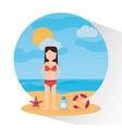 beach sunny day woman sunscreen starfish sea vector image