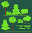set of flat trees and vector image