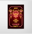 2021 chinese party neon flyer vector image