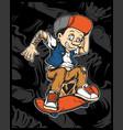 a cartoon young pinocchio with skateboard vector image