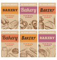 bakery posters fresh bread sketch wheat ear and vector image vector image