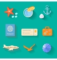 Beach icons in flat style vector image vector image