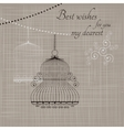 Birdcage on the fabric background vector image