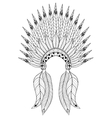 Bohemian zentangle War Bonnet with feathers vector image vector image