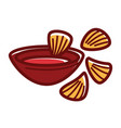 bowl of chili sause with crispy nachos isolated vector image vector image
