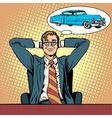 Businessman dreaming about a car vector image vector image