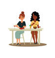 caucasian and african american women eating flat vector image vector image