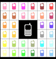 cell phone sign felt-pen 33 colorful vector image vector image