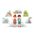children in n95 masks dirty environment vector image