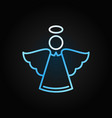 christmas angel blue modern icon in outline vector image vector image