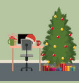 christmas office workplace scene with desktop vector image