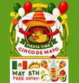 cinco de mayo party invitation mexican holiday vector image vector image