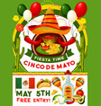 cinco de mayo party invitation of mexican holiday vector image vector image