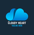 cloud heart logo vector image vector image