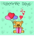 Collection bear with love balloon and gift vector image